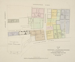 Plan of the freehold and leasehold estates late the establishment of the General Post Office for sale in 14 lots by Mr. Hoggart